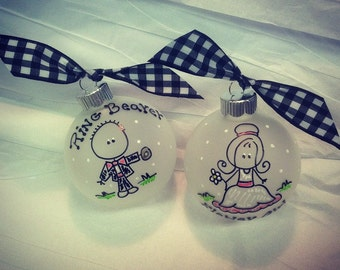 Flower Girl and Ring Beaer Gift SetChristmas Ornament Personalized, Thank You, Wedding Party