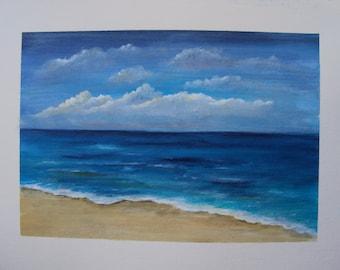 Painting, acrylic on paper, beach, beach