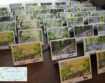 Wedding Table Numbers - Wedding Place Cards - Lake Tahoe Wedding table number cards - custom wedding stationery