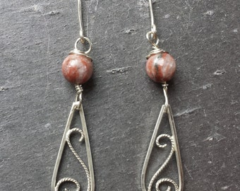 Sterling Silver Filigree Single Bead Red Sesame Jasper Earrings