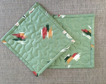 Quilted Pot holders , Potholders,pot holders, Fabric Pot holders, Contemporary Potholders ,8 x 8 inch,green