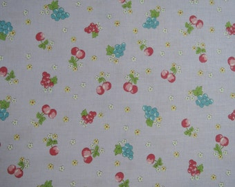 """Half Yard of Yuwa Sunday 9am Cherries, Grapes and Floral Fabric on Lilac Background. Approx. 18"""" x 44"""""""