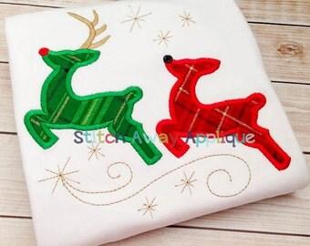 Reindeer Silhouettes Christmas Machine Applique Design