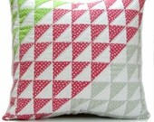 Quilted Pillow Cover 20x20, Quilted Pillow Sham, Patchwork Pillow, Pink Pillow, Teen Room Decor