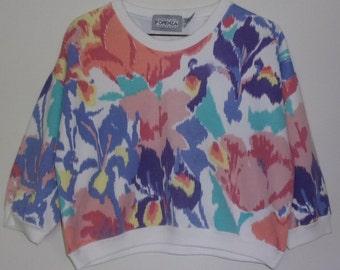 Vintage 80's Cropped Floral Sweatshirt by Forenza Sportswear