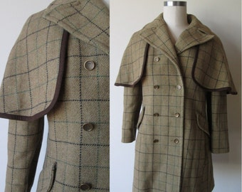 60's Sherlock Holmes Cape Coat Plaid wool Big Collar size small