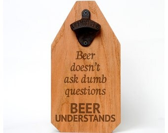 Beer Bottle Opener Wood Sign - Rustic Decor Beer Gift for Dad - Fathers Day