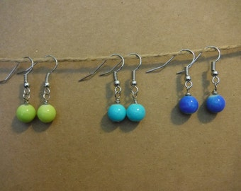 Green, Aqua and Blue Earring Set of 3