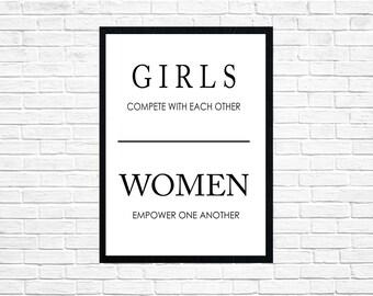 Girls Compete Women Empower wall art-digital print-DIGITAL FILE-PRINTABLE