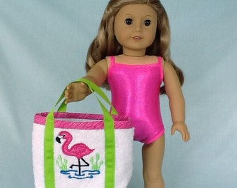 Pink Sparkly Bathing Suit and Flamingo Beach Bag for American Girl/18 Inch Doll