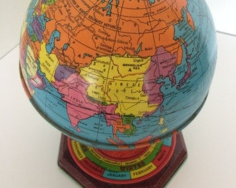 1940's Metal Globe - J. Chein - Made in USA