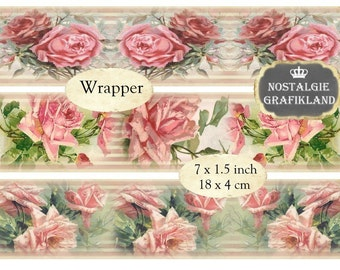 Soap Wrapper Vintage Roses Savon Soap Instant Download digital collage sheet E121 shabby wrapper flowers