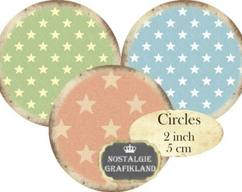 Stars Background Vintage Circles 2 inch Instant Download digital collage sheet C279 pastel
