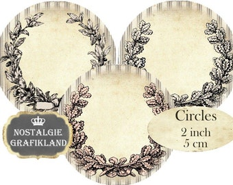 Circles 2 inch Laurel Wreath Frames Shabby Chic Circles Vintage Instant Download digital collage sheet C289
