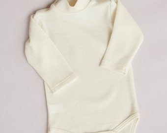 Merino wool baby bodysuit with short turtle neck/Merino wool jumpsuit/Onesie from merino wool/DR-75