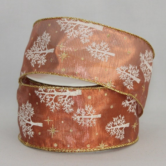 Yards copper lame tree christmas wire edge ribbon