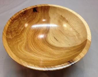 Large Hickory Wood Bowl Hand Turned Pedastal