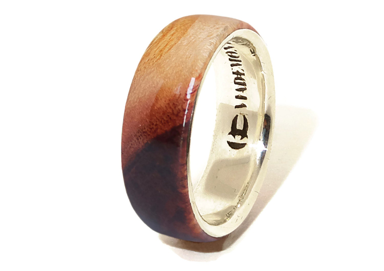 australian blackwood and sterling silver ring mens wood ring