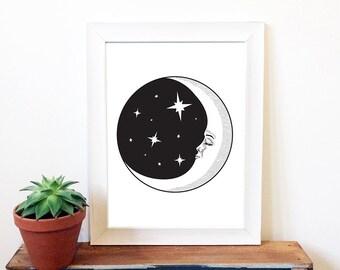 Moon Night Illustration Print, art, drawing, space, vintage, original art, black and white