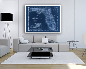 """Map of Florida 1862, Vintage Florida map reprint - 4 sizes up to 48""""x36""""- in original or blue or black"""