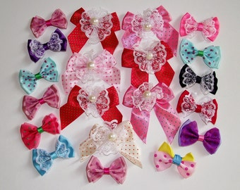 Bows 20 x Assorted Ribbon Organza Satin Lace