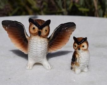 Vintage Bone China Miniature Owl And Owl Baby Porcelain Figurine