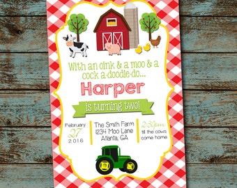 Farm Birthday Invitation, Farm Birthday Party, Oink Moo Turning two, 2nd Birthday Party Digital File DIY