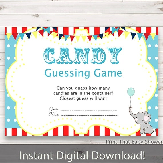 baby shower games candy guessing game circus baby shower circus