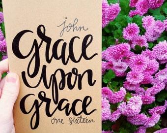 Grace upon grace, prayer journal, moleskine kraft journal, scripture gift, John 1:16