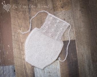 Shiloh Mohair Romper - PDF PATTERN - newborn baby knit photo prop mohair