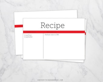 Editable Recipe Card, red and white, 4x6 card, downloadable PDF