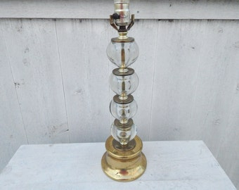 Brass and Glass Bulb Mid Century Modern Table Lamp - Modern Home Lighting - Vintage Atomic Era Lamp - Vintage Lighting - Side Table Lamp