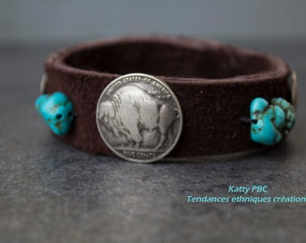 "Native American Leather Bracelet ""Cheveyo 2"""