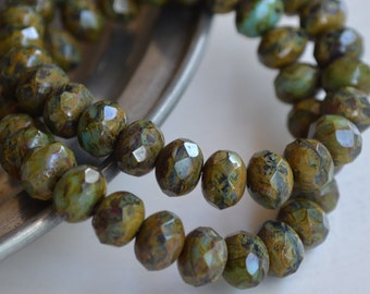 10 Czech Picasso Faceted Rondelle Beads 8x6mm- Serene (658-10)