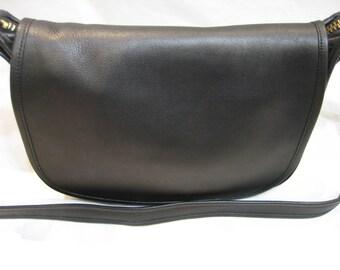 Vintage Coach Black Leather Patricia 9951 Cross Body Messenger Shoulder Bag