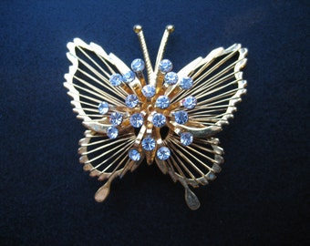 Vintage Signed Monet Gold Tone Rhinestone Butterfly Brooch