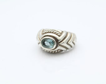 Celtic Design Ring With Blue Topaz in Sterling Silver Size 5.5. [8546]