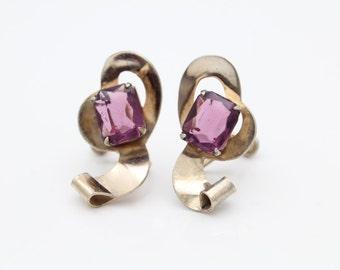 Vintage 1940s Screw-Back Earrings Purple Rhinestones Gold-Wash Sterling Silver. [9171]