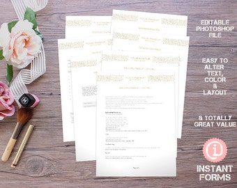 Makeup Artistry Forms and Contracts - IF097 - INSTANT DOWNLOAD. You'll receive 7 psd files