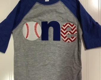 One baseball raglan shirt, royal blue first birthday baseball theme shirt, 1st birthday sports shirt, baby raglan shirt, blue red chevron