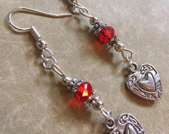 Red Heart Earrings Glass Beads Love Sweetest Day Valentine's