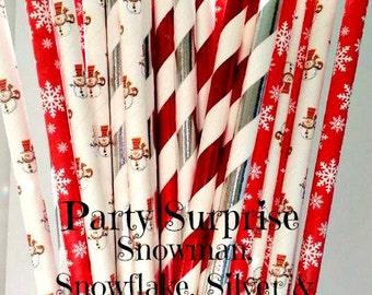 Christmas Party Straws Snowmen Paper Straws New Years Winter Holiday Party snowmen straws