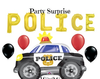 Police Car Balloons Kids Adult Police Party Balloons Jumbo Police Car balloon Gold letter Police balloons Rescue Cops Party Decorations