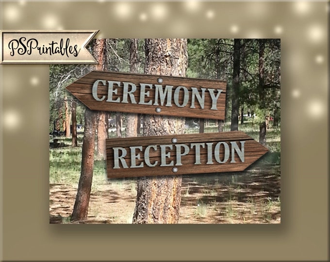 Ceremony-Reception sets directional arrow signs - DIY instant download-rustic industrial barnwood galvanized metal wedding-sierra collection