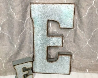 Metal Letters/Large Metal Letter/Letter E/Galvanized Metal Wall Letter/ Large Letter/ Wedding/Initials/Rustic Wall Art Industrial/Wall Decor