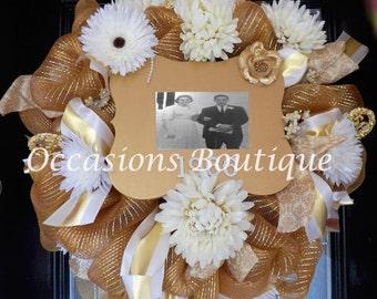 50th Anniversary Party Decoration, Anniversary Gift, Wedding Gift, Wedding Decoration, Anniversary Wreath, Pre-Order