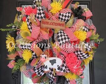 Summer Wreath, Wreath for Summer, Door Hanger, Housewarming Gift, Whimsical Wreath, Large Wreath, Front door Wreaths