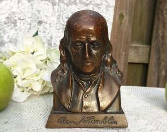 Retro Benjamin Franklin Bronze Cast, Suffolk Boston, piggy Bank, Figurine Coin Saving, Statue, Change, Americana