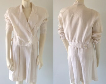 80s SHORT SUIT Vintage 1980s 2 Piece Cropped Jacket & Shorts White Linen Suit Size Small