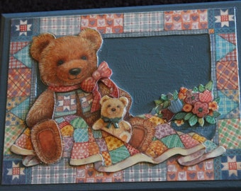 Handmade 3D Wooden Box with Teddy Bear/Quilt design